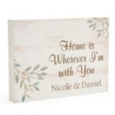 Personalized, Wooden Sign with Vines, Home, Small,  White