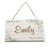 Personalized, Wooden Hanging Sign with Leaves, New  Baby, White