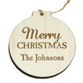 Personalized, Wooden Ornament, Round, Merry Christmas, White