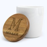 Personalized, Ceramic Canister, with Monogram, Small,  White