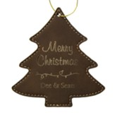 Personalized, Leather Ornament, Tree, Merry Christmas