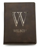 Personalized, Passport Holder, with Monogram, Leather, Brown