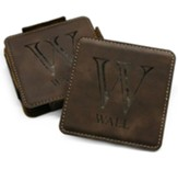 Personalized, Leather Coaster Set, with Monogram, Brown