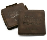 Personalized, Leather Coaster Set, Friends Gather Here, Brown