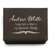 Personalized, Leather Accessory Box, Favorite Things,  Brown