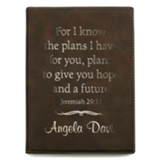 Personalized Leather Padfolio, Hope and a Future, Small,  Brown