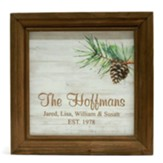 Personalized, Wooden Framed Sign with Pine Cones, Family, White