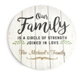 Personalized, Wooden Circle Sign, Our Family, Large,   White