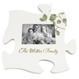Personalized, Photo Puzzle Piece with Leaves, Family, White