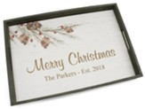 Personalized, Wooden Tray, Merry Christmas with Pine Cones