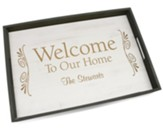 Personalized, Wooden Tray, Welcome, White