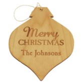Personalized, Wooden Bulb Ornament, Merry Christmas, Natural