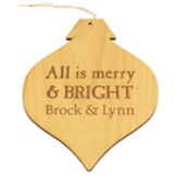 Personalized, Wooden Bulb Ornament, Merry and Bright, Natural