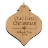 Personalized, Wooden Bulb Ornament, Our First Christmas Natural