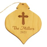 Personalized, Wooden Bulb Ornament, with Cross, Natural