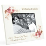 Personalized, Photo Frame with Roses, 5x7, As For Me and My House, White