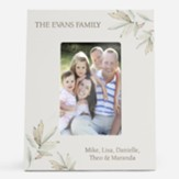 Personalized, Photo Frame with Leaves, 4x6, Family, White