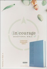 CSB (in)courage Devotional Bible--soft leather-look, blue (indexed)