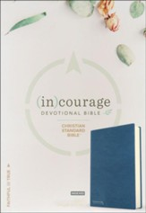 CSB (in)courage Devotional  Bible--genuine leather, navy (indexed) - Imperfectly Imprinted Bibles