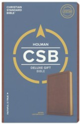 CSB Deluxe Gift Bible--soft  leather-look, brown