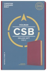 CSB Deluxe Gift Bible--soft  leather-look, burgundy