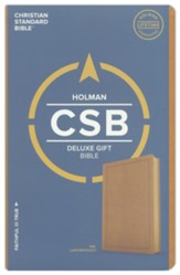 CSB Deluxe Gift Bible--soft  leather-look, tan