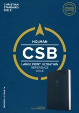 CSB Large-Print Ultrathin Reference Bible, charcoal cloth over board