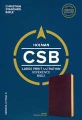 CSB Large-Print Ultrathin Reference Bible--genuine leather, brown - Imperfectly Imprinted Bibles