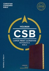 CSB Large-Print Ultrathin Reference Bible--genuine leather, brown (indexed) - Slightly Imperfect