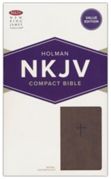 NKJV Compact Bible, Value Edition--soft leather-look, brown - Slightly Imperfect