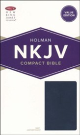 NKJV Compact Bible, Value Edition--soft leather-look, navy - Slightly Imperfect