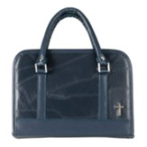 Leather Patchwork Bible Cover, Navy Blue, Thinline