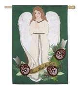 Peace, Love, Hope, Angel Linen Flag, Large