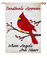 Cardinals Appear When Angels Are Near Linen Flag, Large
