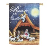 Christmas Manger Suede Flag, Large