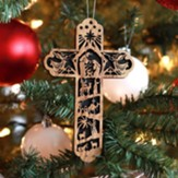 Cross with Nativity Scene Olive Wood Ornament