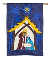 A Child Is Born, Nativity, Applique Flag, Large