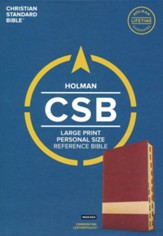CSB Large Print Personal Size Reference Bible, Crimson/Tan LeatherTouch Imitation Leather, Indexed - Imperfectly Imprinted Bibles