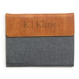 Personalized, Padfolio, Faux Leather, Small, Monogram, Grey and Tan