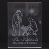 Personalized, Crystal Plaque, Rectangle, Nativity Scene