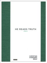 CSB He Reads Truth Bible, Green Cloth Over Board, Indexed