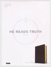 CSB He Reads Truth Bible, Brown Genuine Leather with Thumb Index - Slightly Imperfect