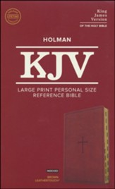 KJV Large Print Personal Size Reference Bible, Brown Leathertouch Imitation Leather, Indexed - Imperfectly Imprinted Bibles