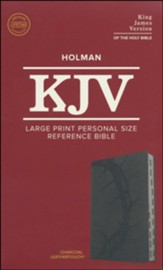 KJV Large Print Personal Size Reference Bible, Charcoal Leathertouch Imitation Leather, Indexed - Imperfectly Imprinted Bibles