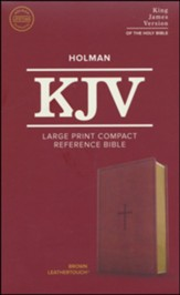 KJV Large Print Compact Reference Bible, Brown LeatherTouch Imitation Leather