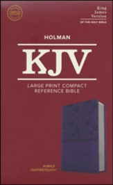 KJV Large Print Compact Reference Bible, Purple LeatherTouch Imitation Leather - Slightly Imperfect
