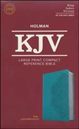 KJV Large Print Compact Reference Bible, Teal LeatherTouch Imitation Leather - Slightly Imperfect