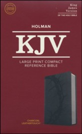 KJV Large Print Compact Reference Bible, Charcoal LeatherTouch Imitation Leather - Slightly Imperfect