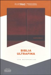 Biblia Ultrafina RVR 1960, Piel Imit. Marron, Solapa c/Iman   (RVR 1960 Ultrathin Bible, Brown Bon. Leather Magnetic Flap)