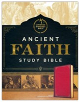 CSB Ancient Faith Study Bible--soft leather-look, crimson